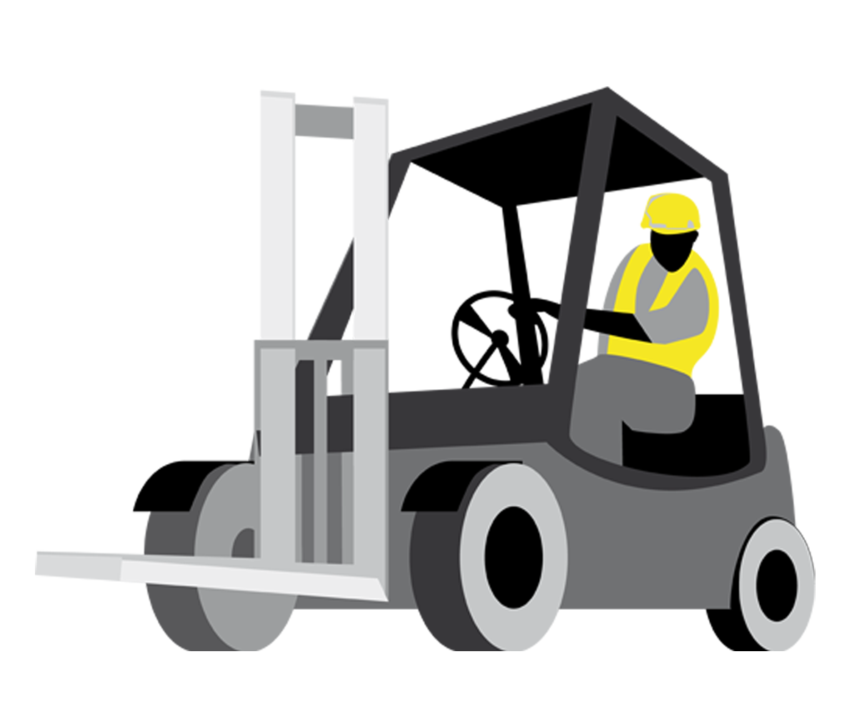 Forklift drawing workplace safety. Clipart transparent download
