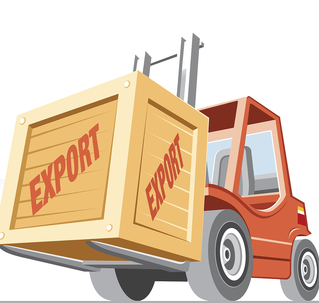 Forklift drawing yellow. Intermodal container cargo illustration