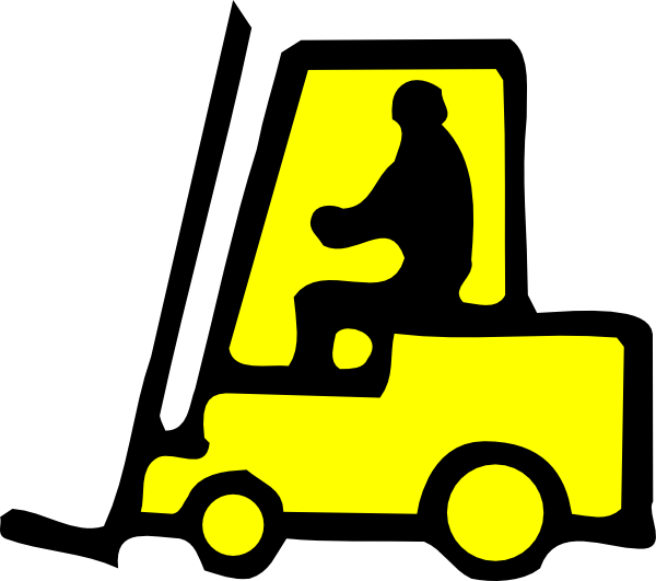 Forklift drawing yellow. Sign clip art at