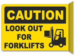 Forklift drawing yellow. Warning signs for warehouse