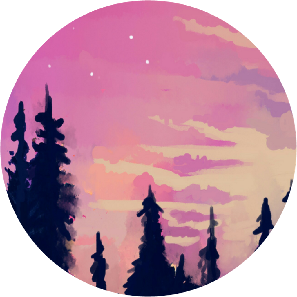 Forrest drawing aesthetic. Aestheticcircle pink sky sunset