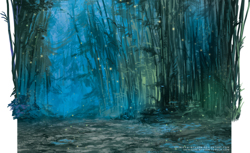 Forrest drawing fantasy. Bamboo forest of the