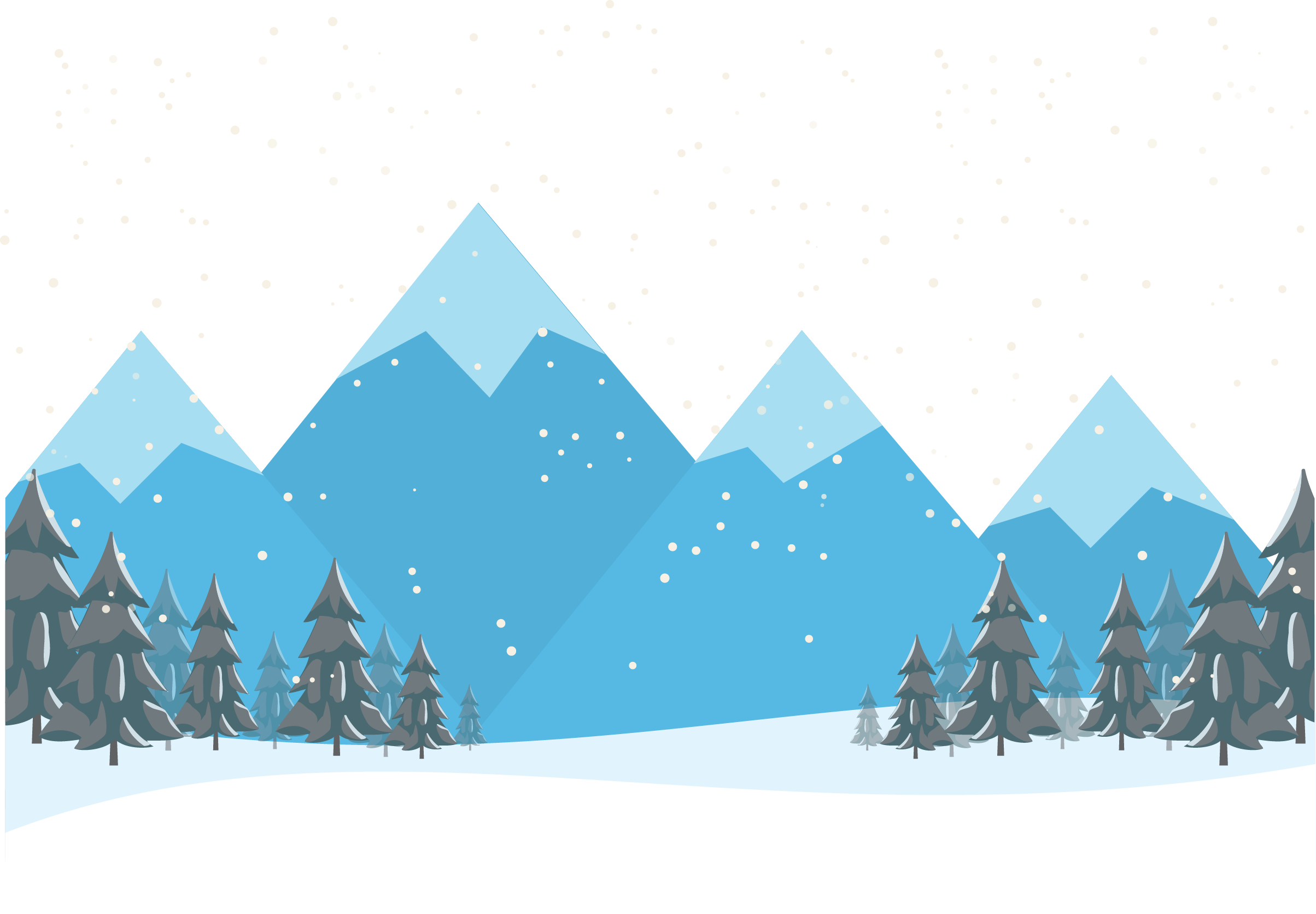 Hd drawing landscape. Cartoon forest snow mountain
