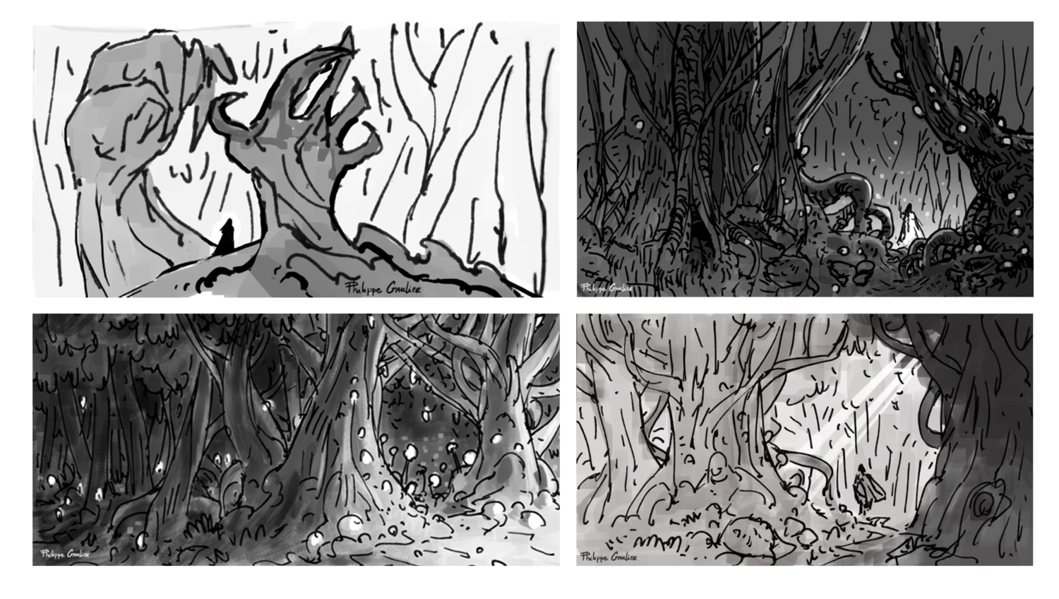 Forrest drawing perspective. Class concept artist philippe