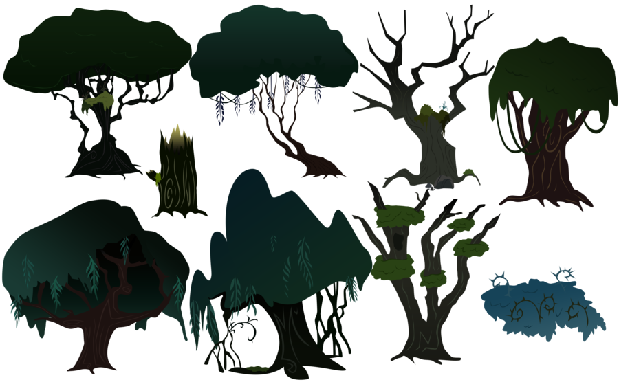 Forrest vector. Everfree forest trees by