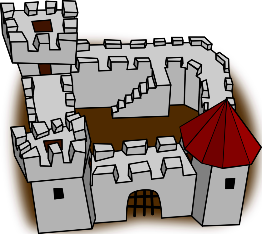 Fort drawing. Castle fortification cartoon fortified