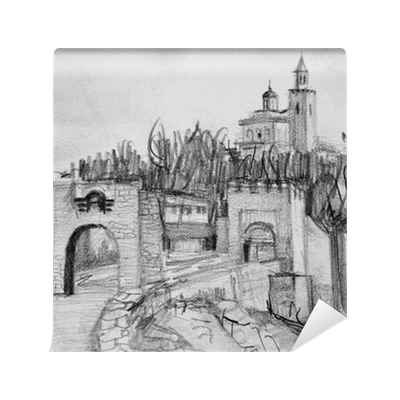 Fortress drawing. Pencil of tsarevets in
