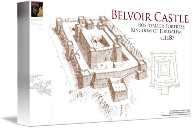 Fortress drawing castle. Belvoir by military architecture