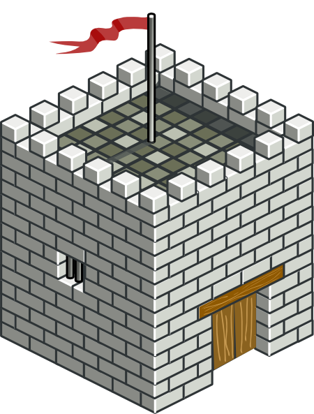 Fortress drawing citadel. Castle tower isometric clip