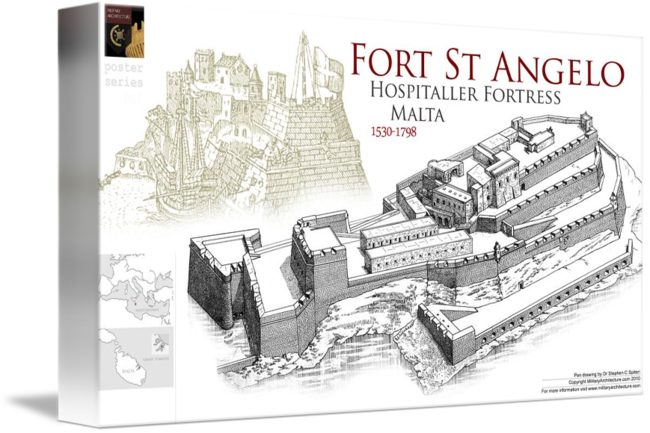 Fortress drawing fort. St angelo malta by