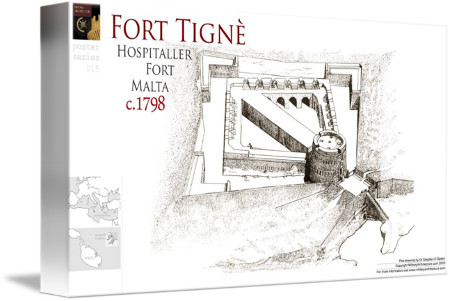Fortress drawing contemporary. Fort tigne malta by