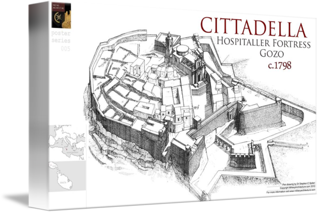 Fortress drawing contemporary. Cittadella gozo by military