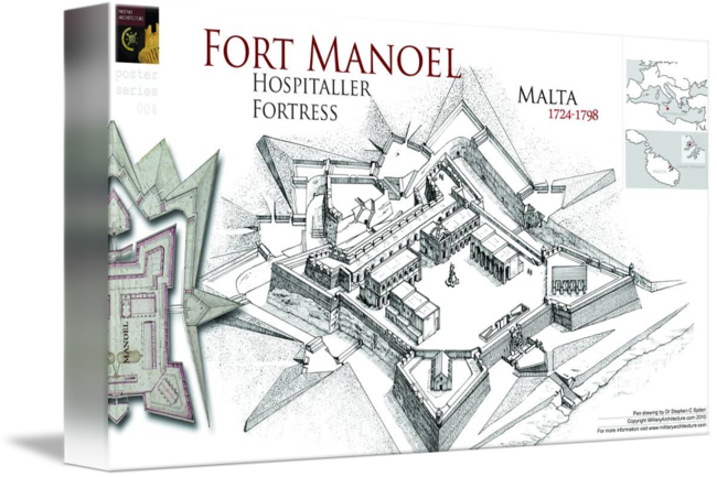 Fortress drawing contemporary. Fort manoel malta by