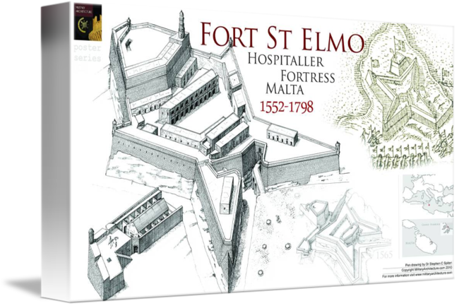 Fortress drawing fort. St elmo malta by