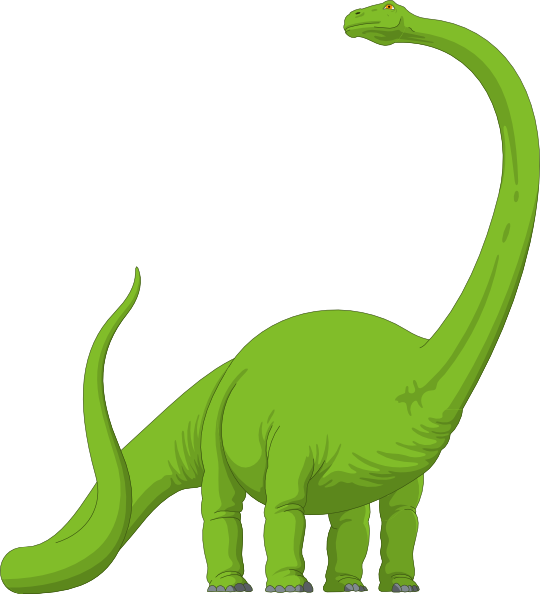 Long neck dinosaur green. Fossil clipart brachiosaurus image library stock
