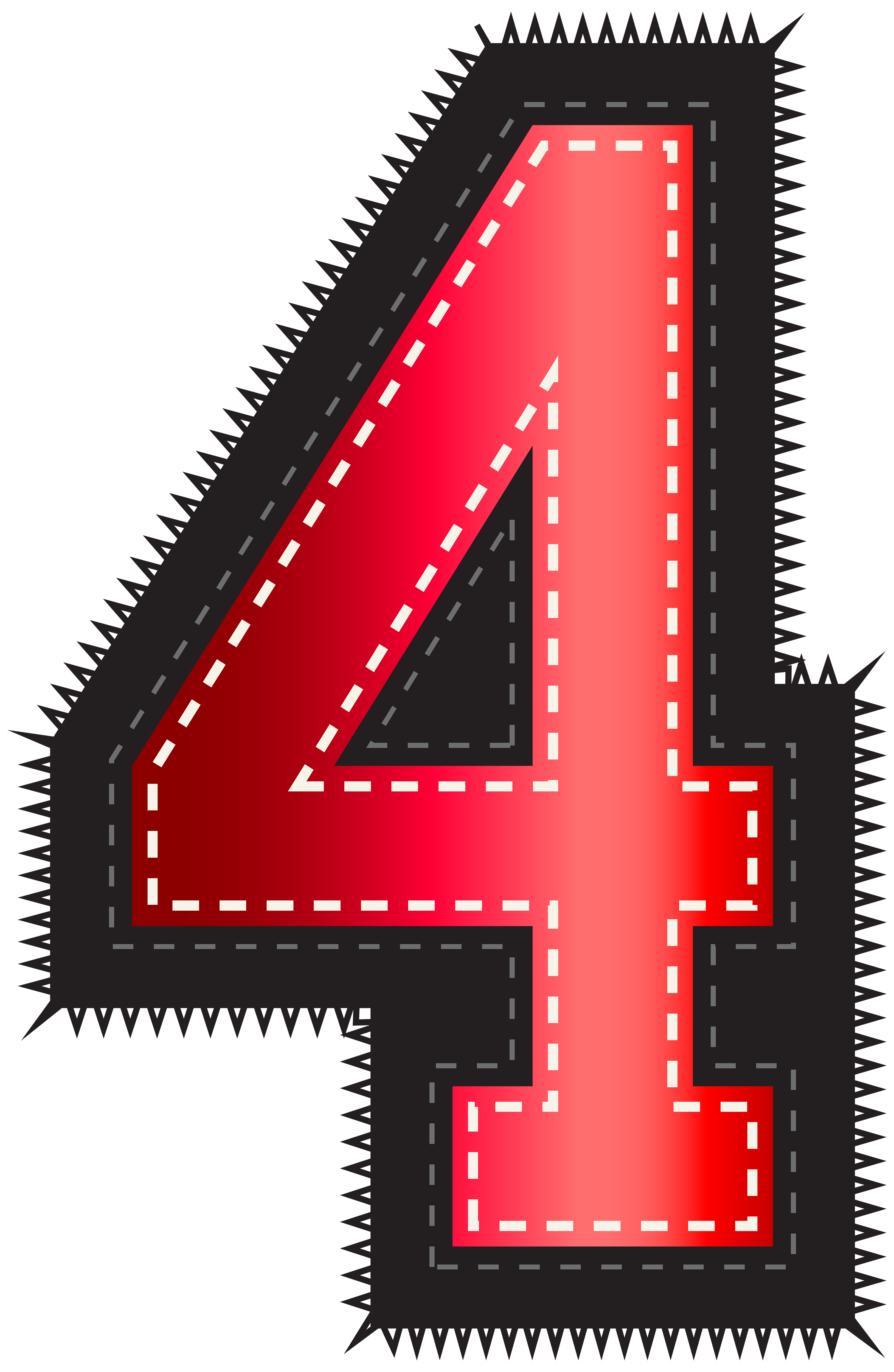 Four clipart. Red sport style number
