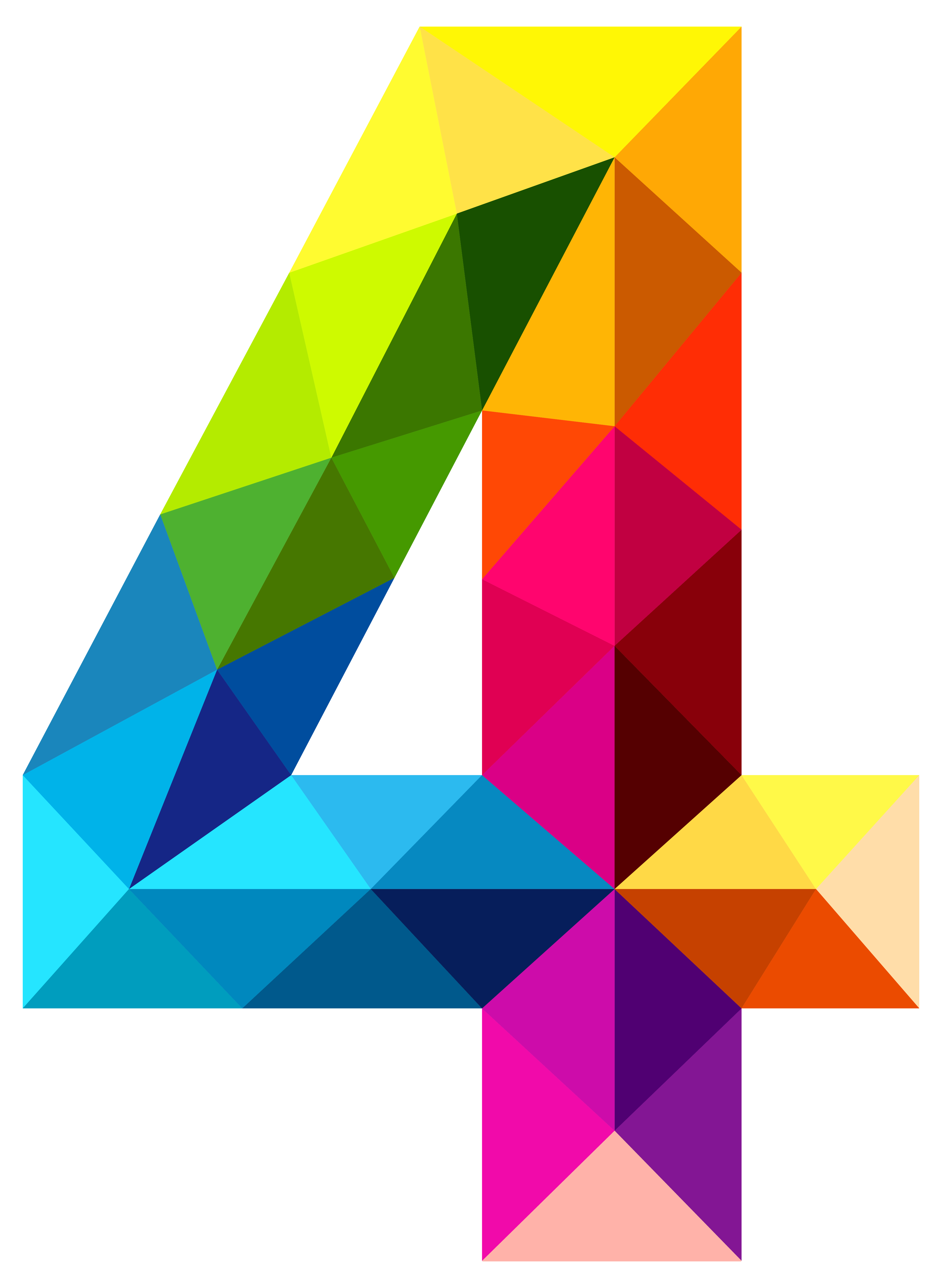 Four clipart. Colourful triangles number