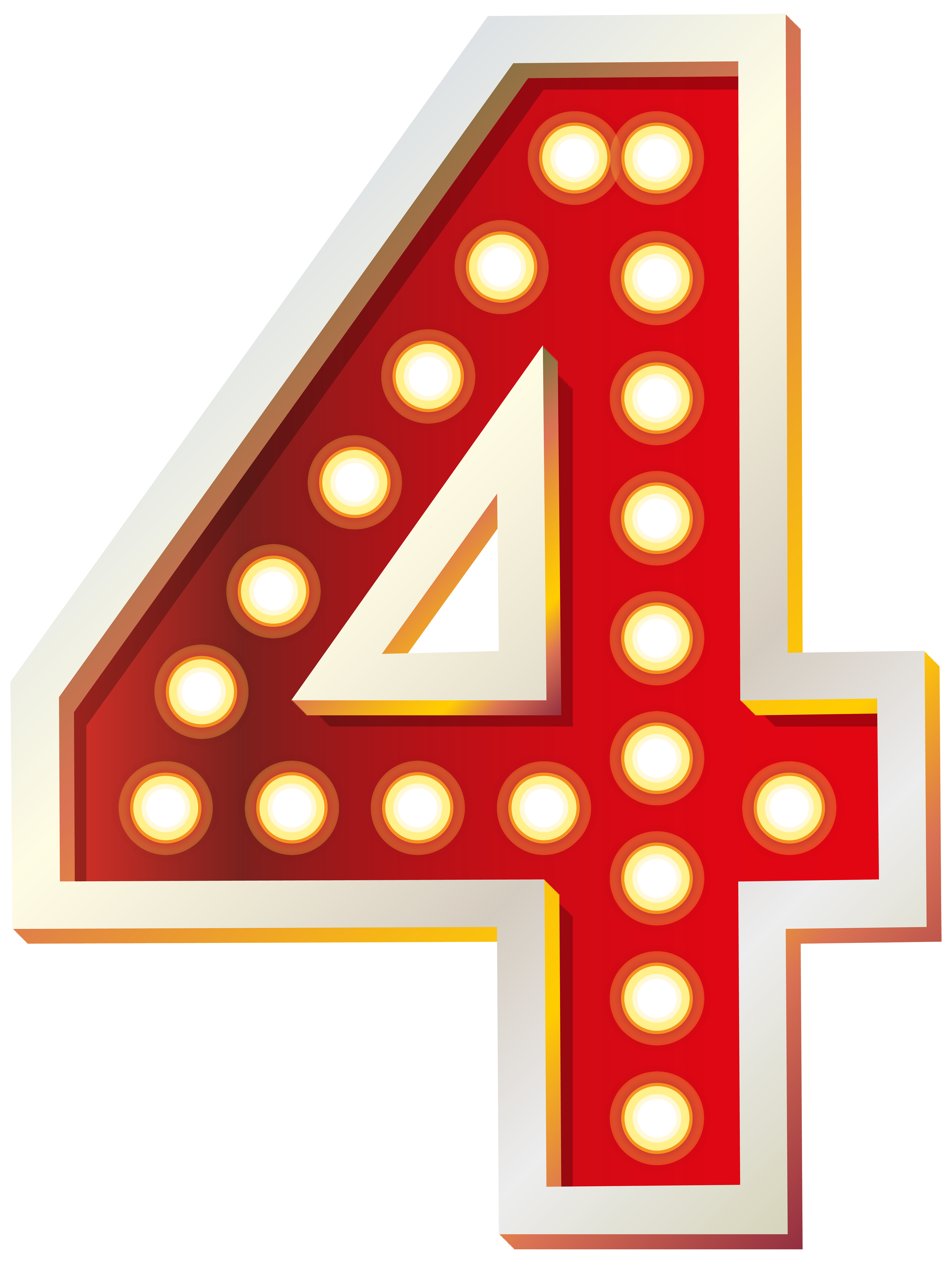 Four clipart. Red number with lights