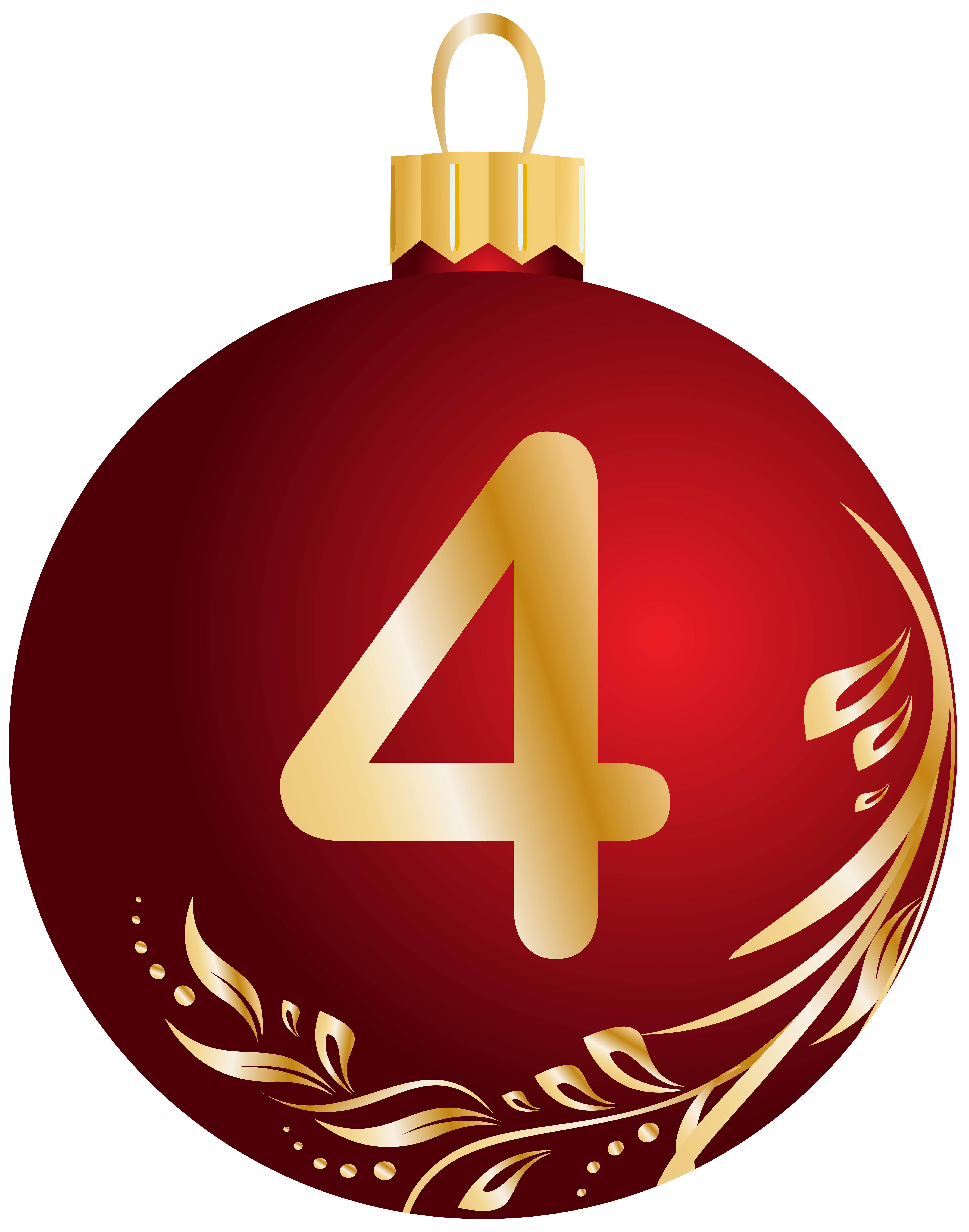 Four clipart 4 ball. Christmas number transparent png