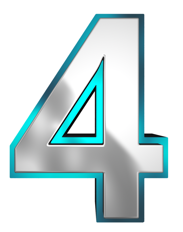 Four clipart. Metallic and blue number