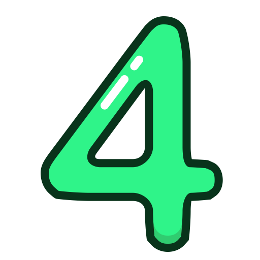 Four clipart. Number green numbers study