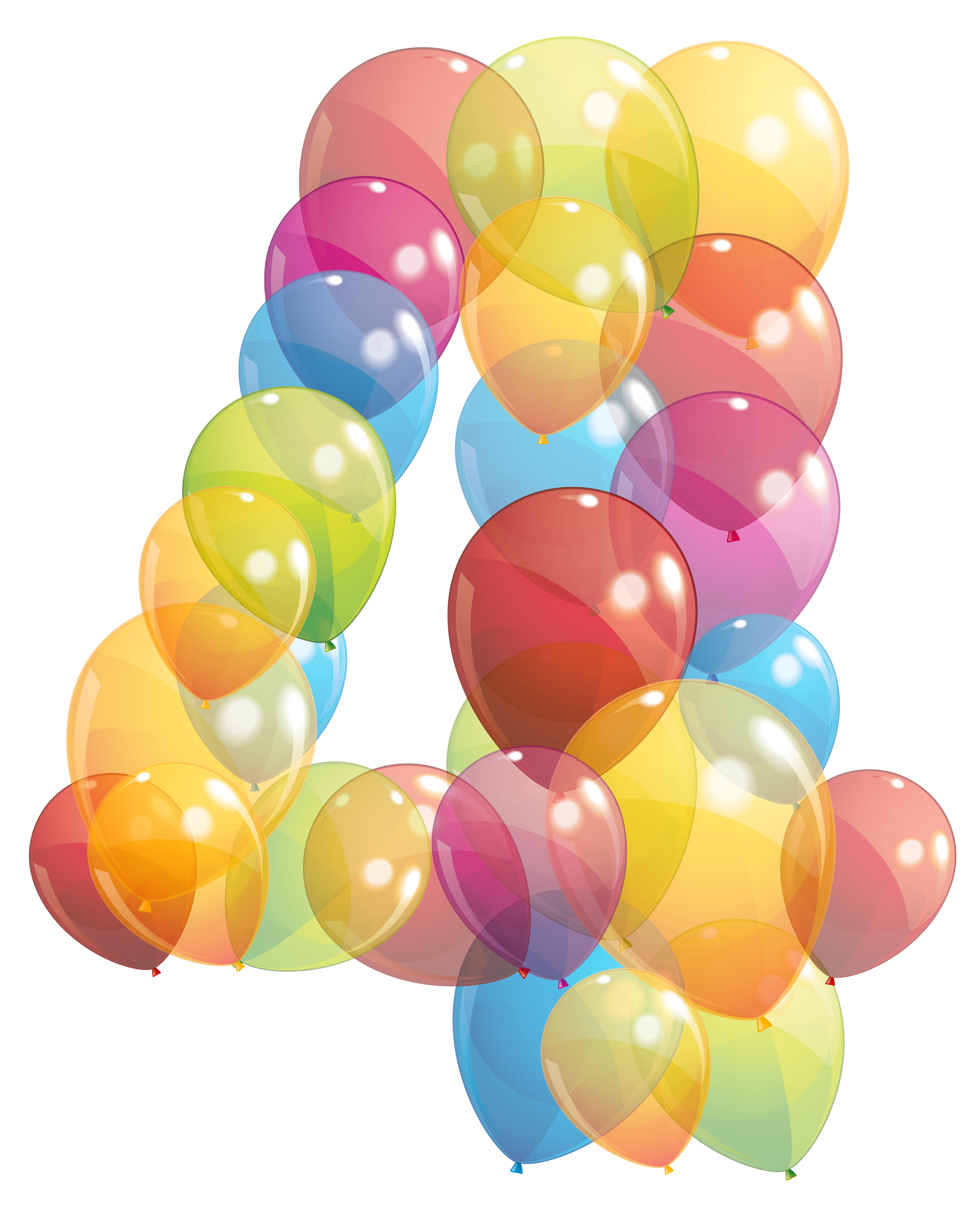 Four clipart birthday baloon. Transparent number of balloons