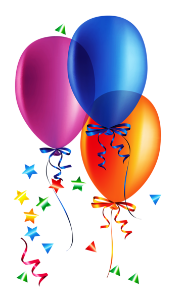 Four clipart birthday baloon. Transparent balloons with confetti