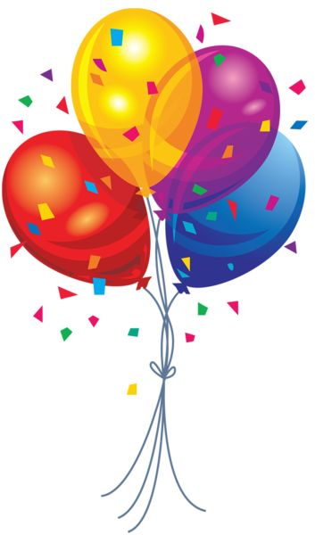 Transparent multi color balloons. Four clipart birthday baloon banner royalty free library