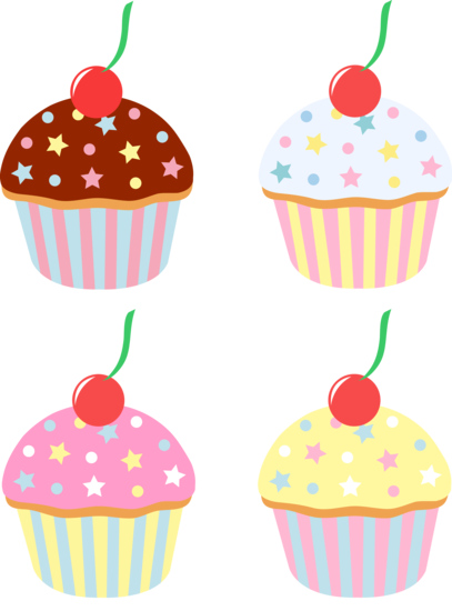 Sprinkles clipart cake. Four cupcakes with cherries