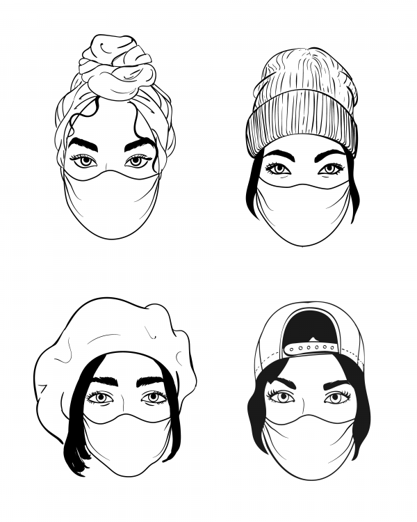 Four women faces in disposable medical surgical face mask to protect against high air toxic pollution city. Stop the spread