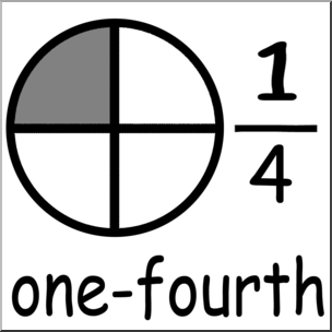 Fourth of clipart. Clip art labeled fractions