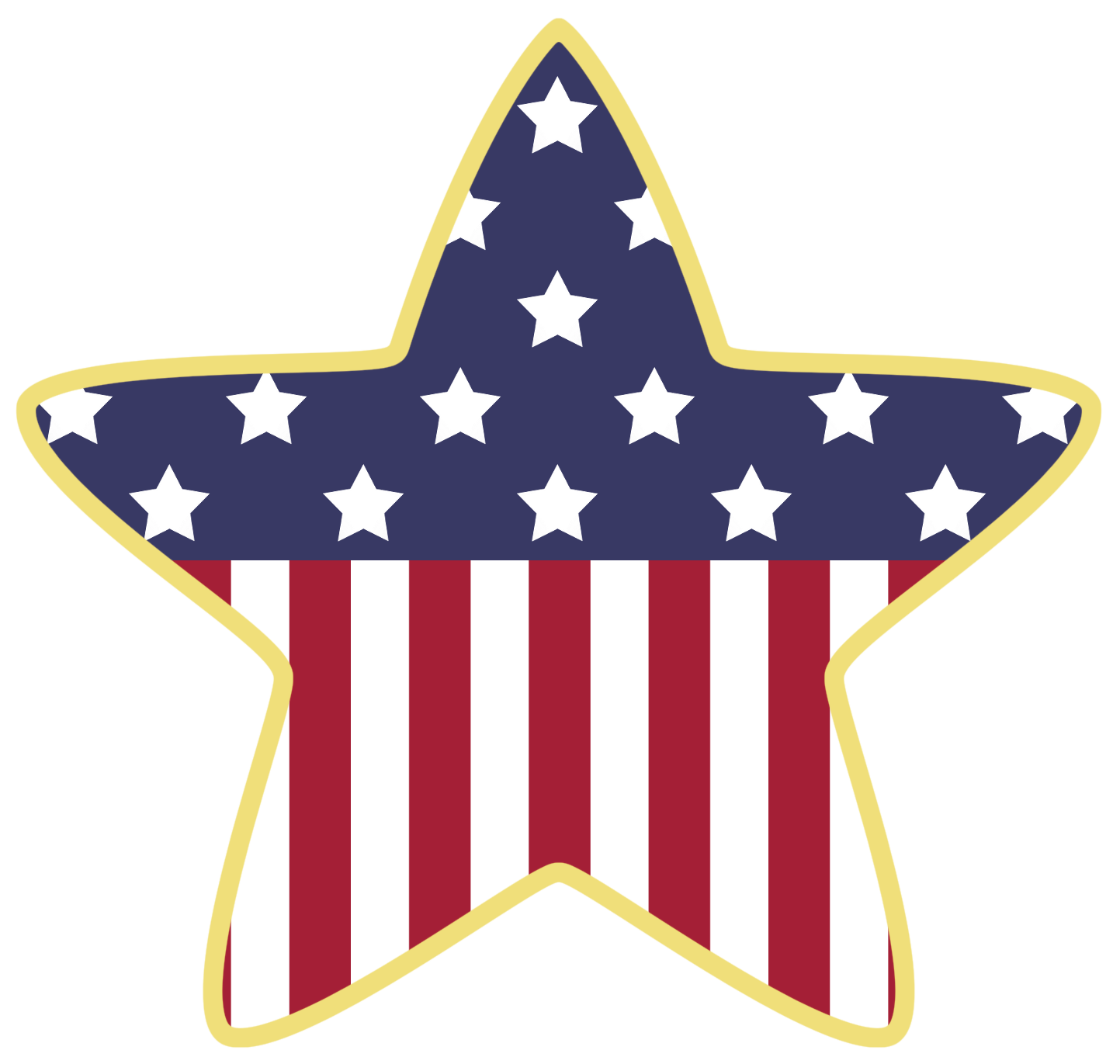 Fourth of july banner png. American star decoration clipart