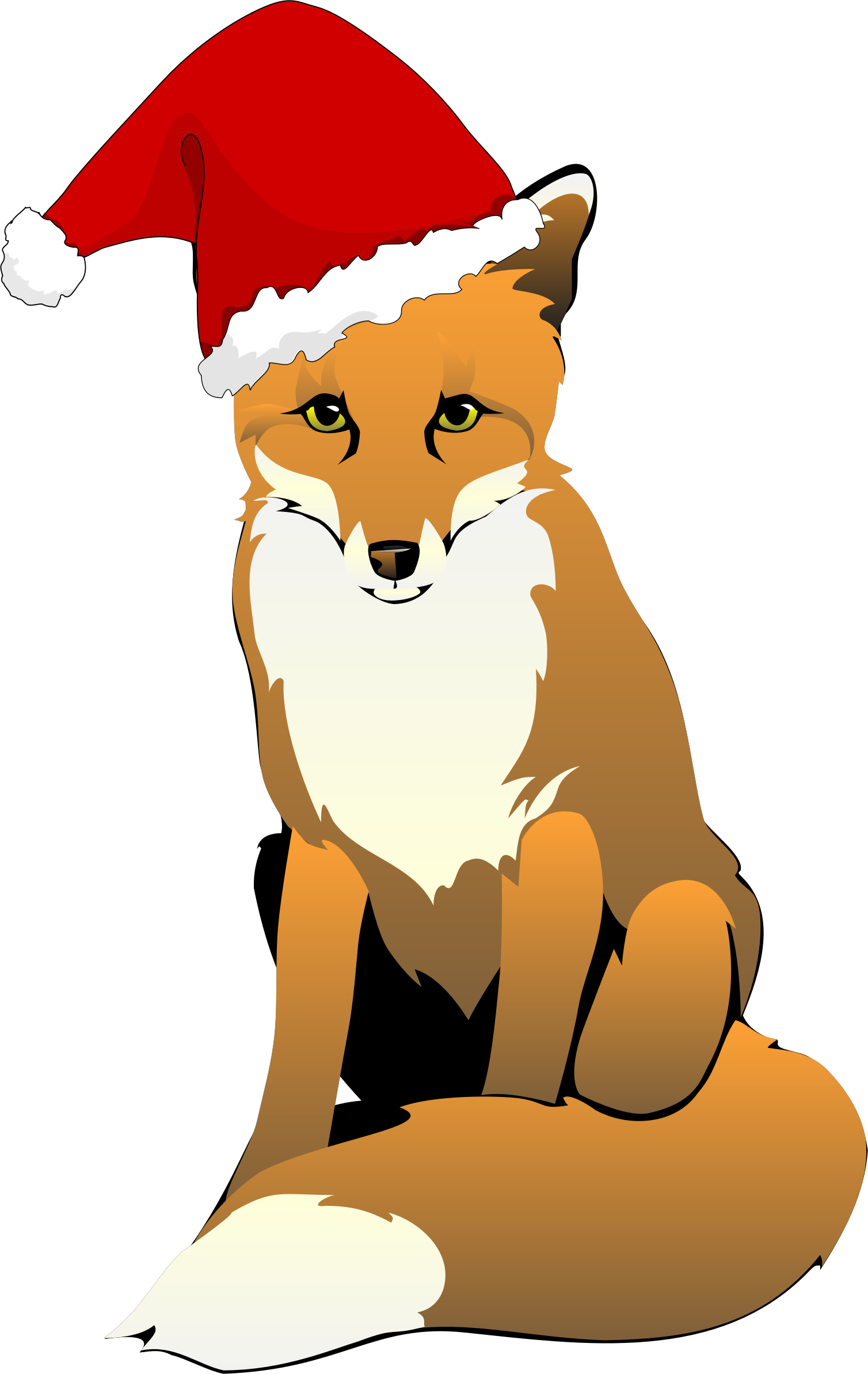Fox cartoon png. Wearing santa hat icons