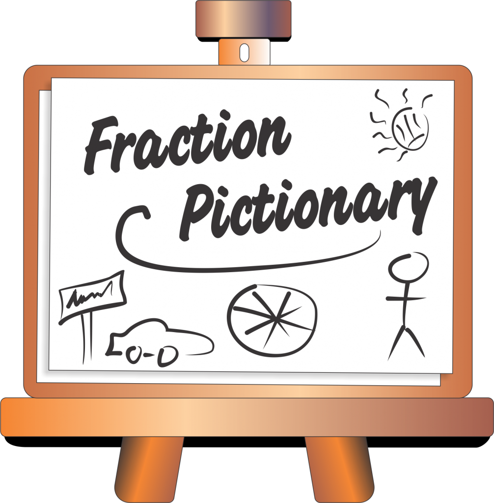 Fraction drawing written. Pictionary math fractions games