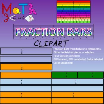 Fractions clipart fraction bar. Bars colored labels and