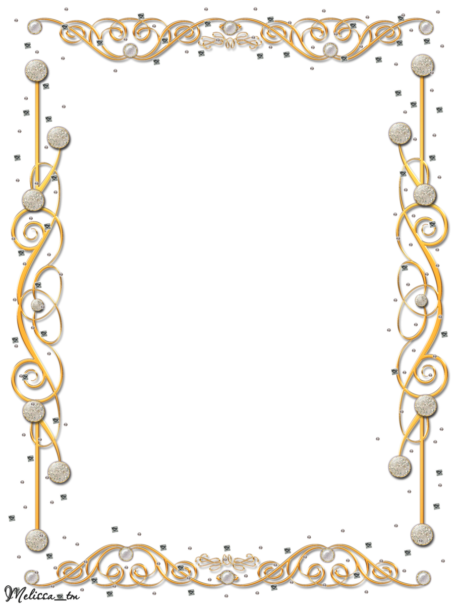 Golden border png. Frame with gems by