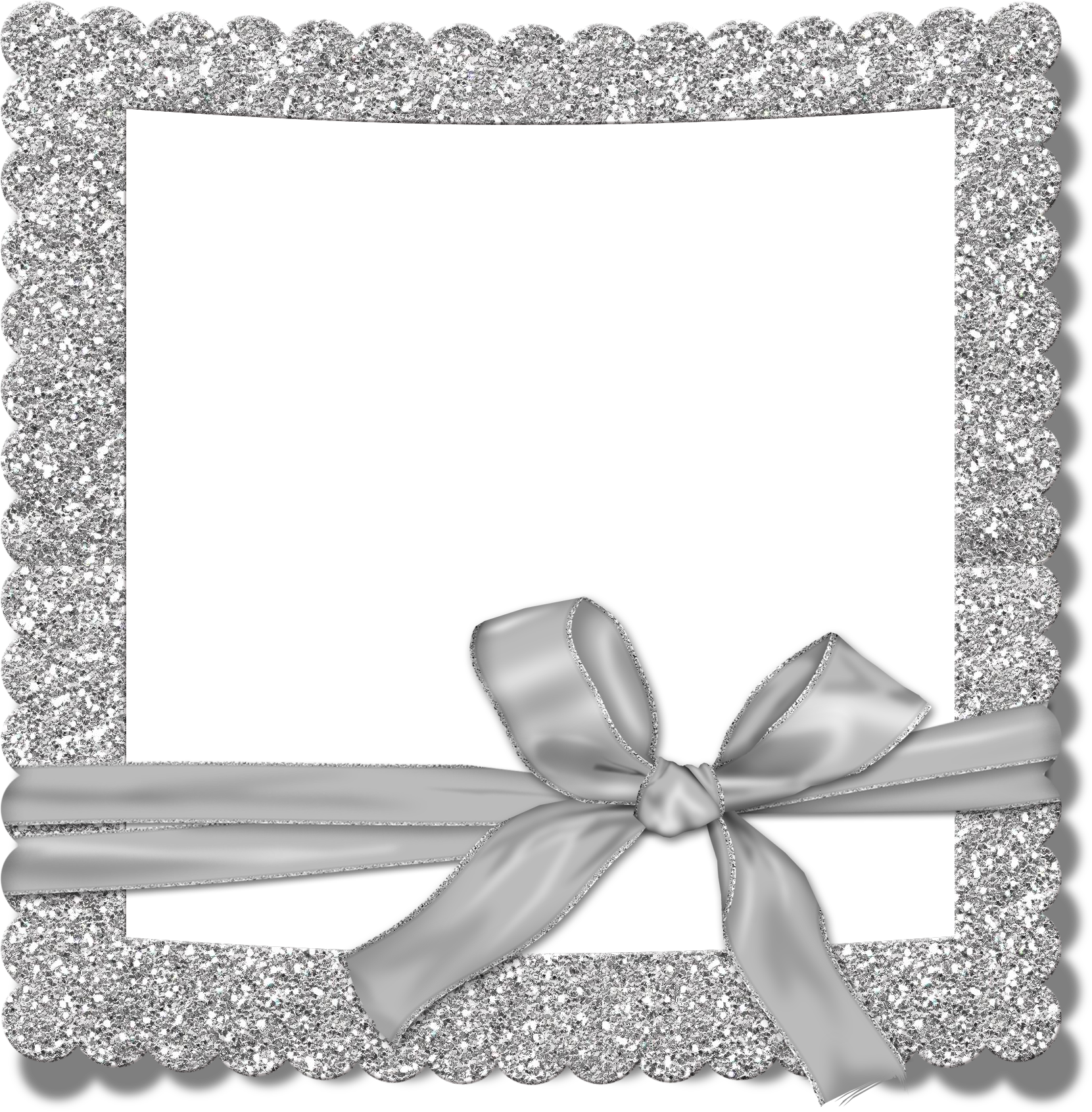 Frame clip silver. Transparent photo with bow