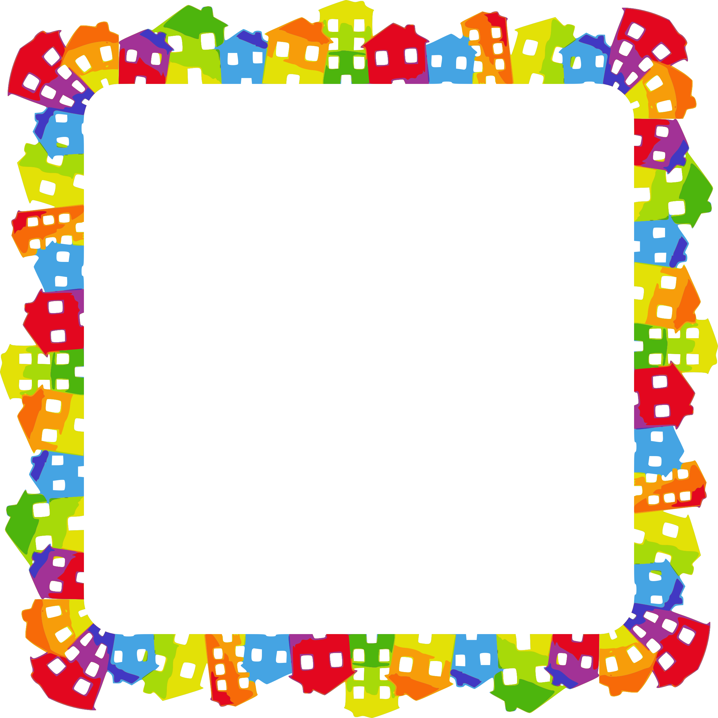 Frame clipart. Colorful houses big image