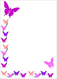Flower borders and frames. Frame clipart butterfly png black and white download