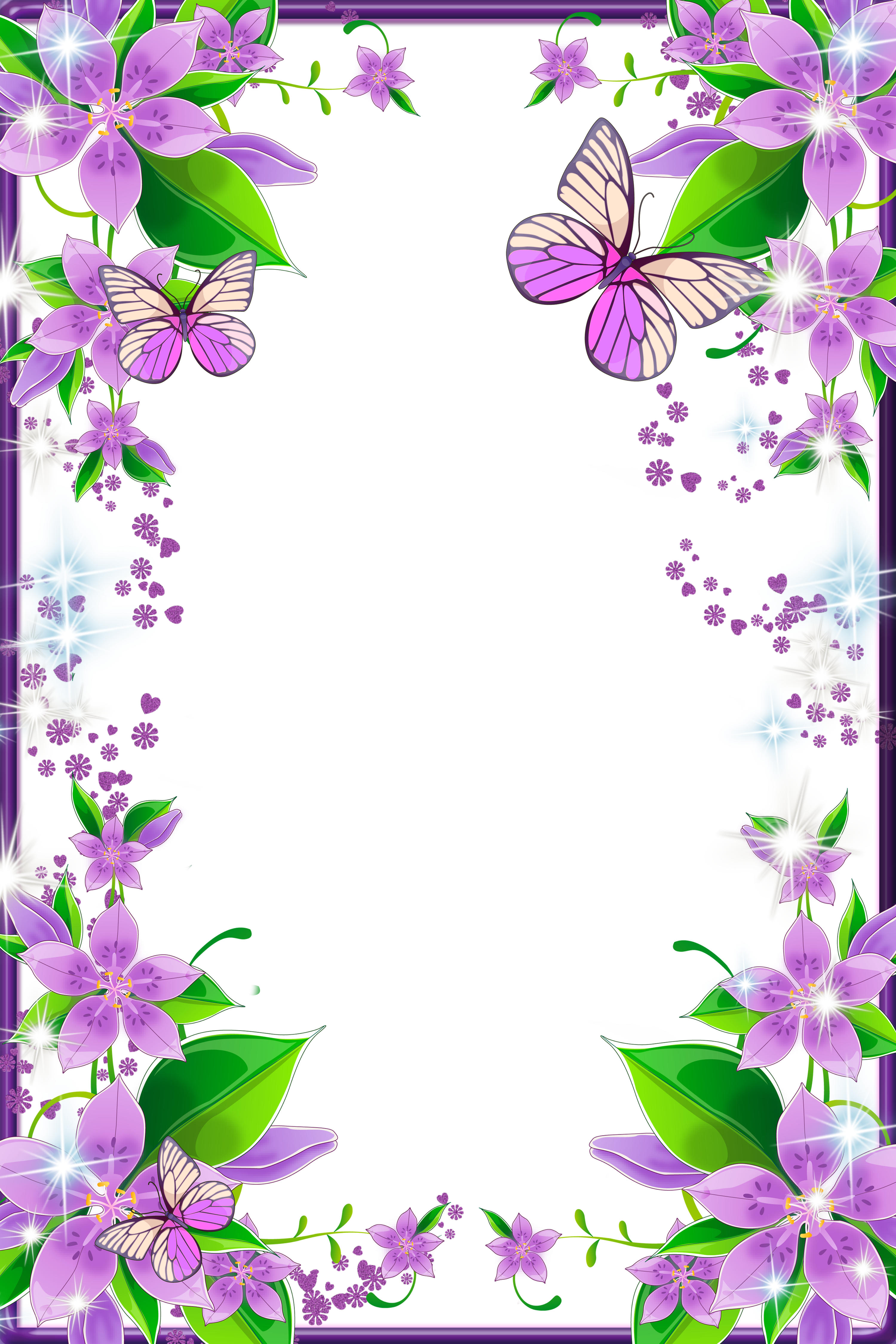 Frame clipart butterfly. Light purple flowers and