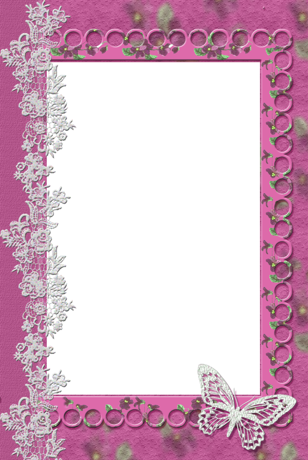 Lace clipart butterfly. Pink transparent frame with