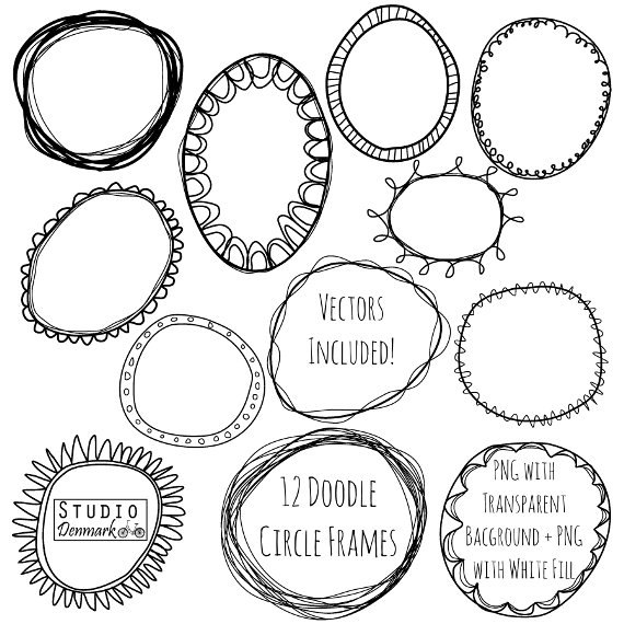 Frame clipart doodle. Circle frames and vectors