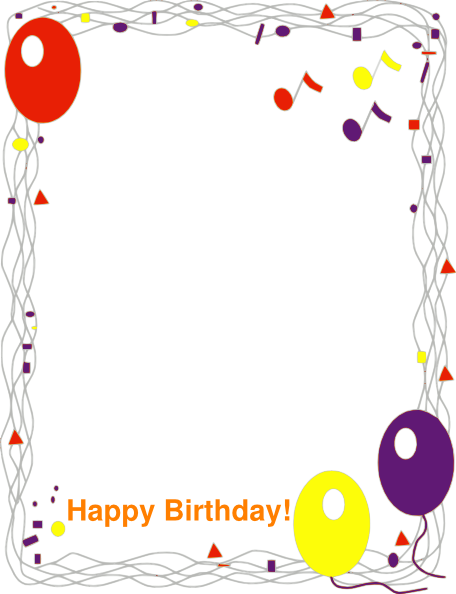 Border clip art at. Frame clipart happy birthday picture library library
