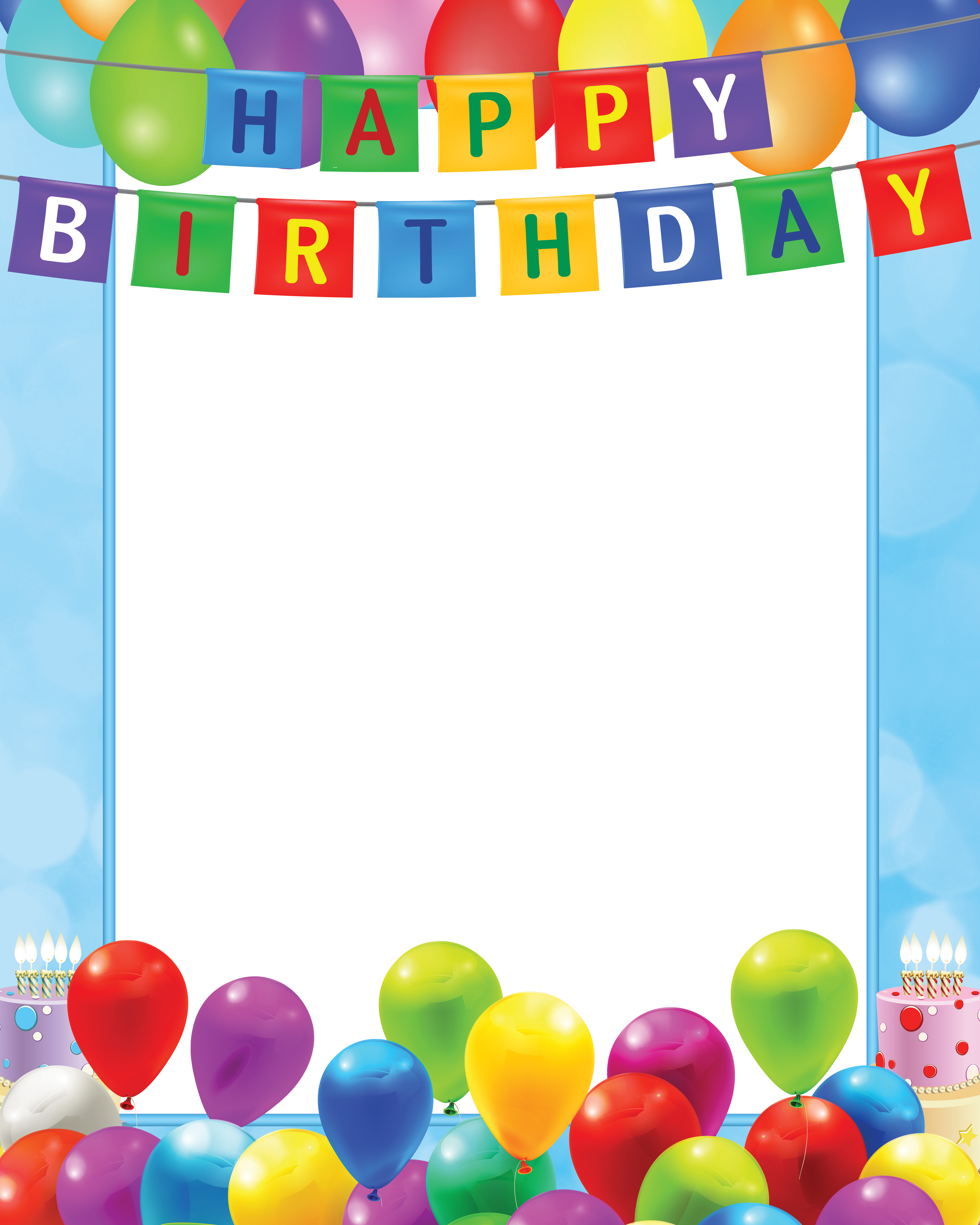 Birthday borders png. Happy transparent blue frame