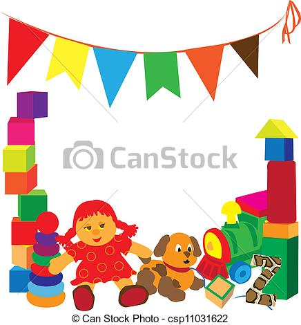 Frame clipart toy. Bright with toys different graphic library download