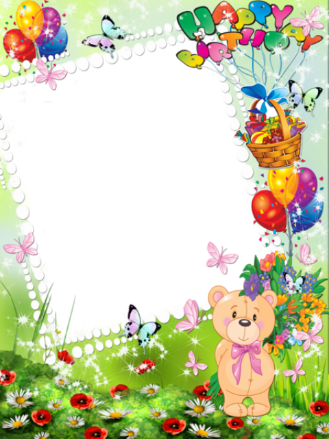 Happy birthday kids transparent. Frame clipart toy banner black and white library