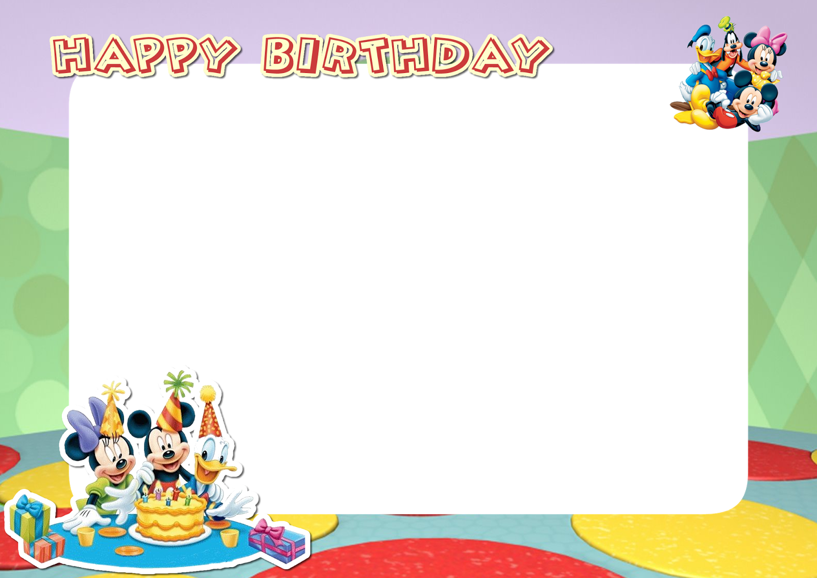 Frame happy birthday png. Mickey mouse friends printable