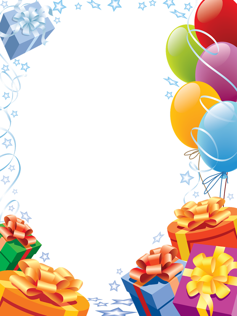 Frame happy birthday png. Transparent with gifts and