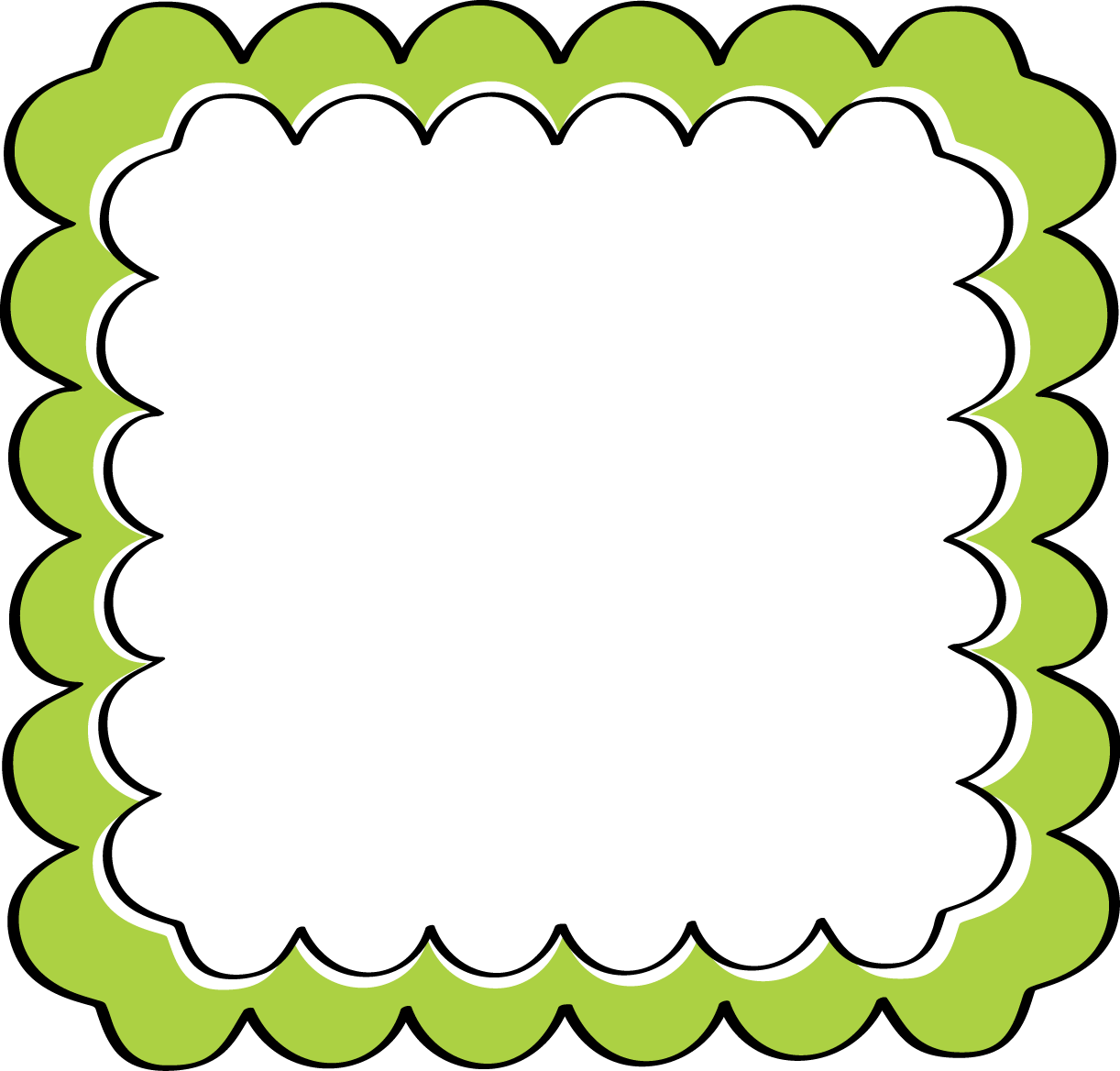 Frames clipart green. School theme border scalloped