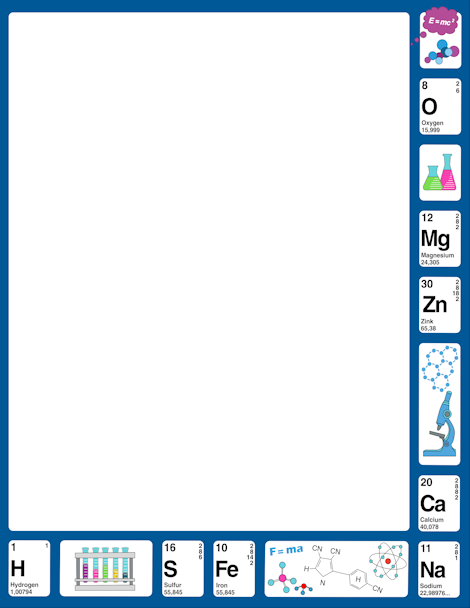 Physical clipart border design. Clip art featuring science